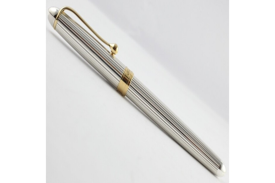Aurora 88 Solid Silver Linear Pattern Gold Trim Fountain Pen