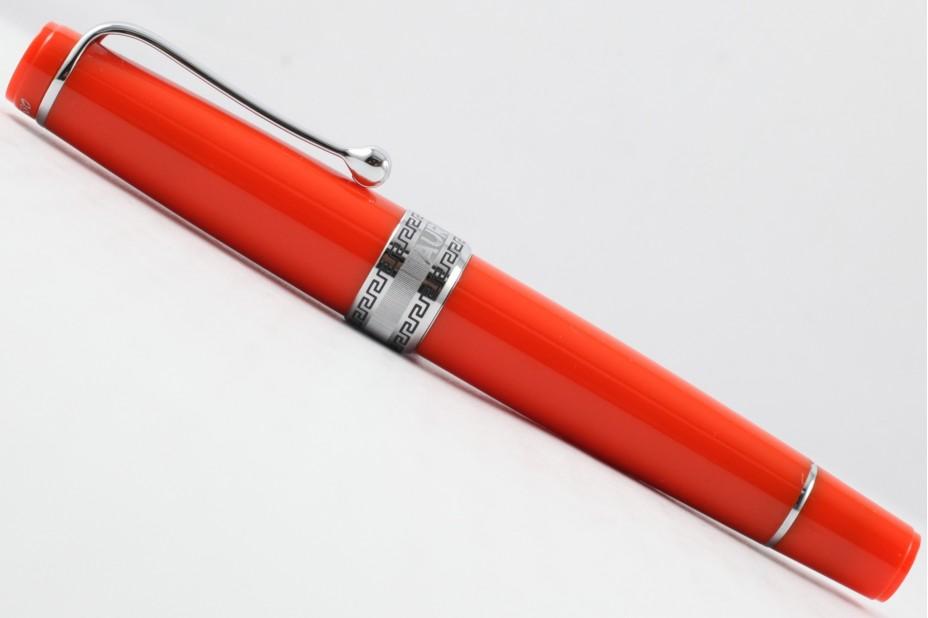 Aurora Limited Edition Optima Orange Silver Trim with Flexible Fine Nib Fountain Pen