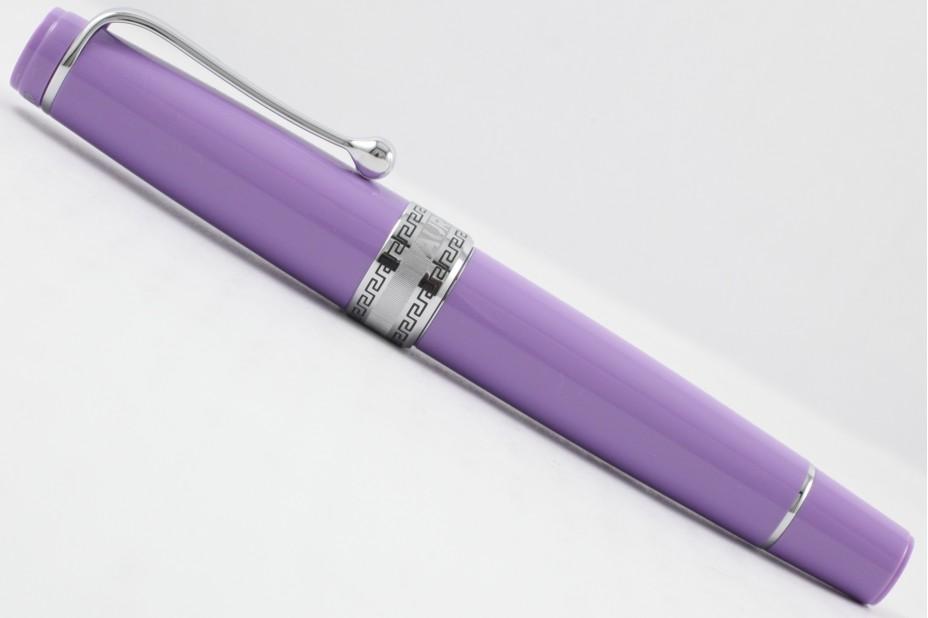 Aurora Limited Edition Optima Purple Silver Trim with Flexible Fine Nib Fountain Pen