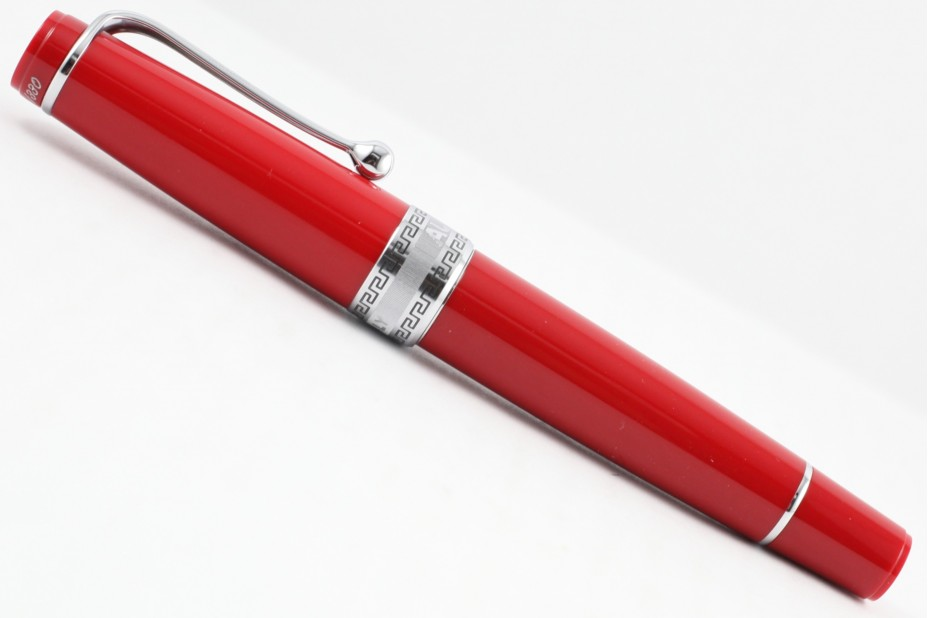 Aurora Limited Edition Optima Red Silver Trim with Flexible Nib Fountain Pen