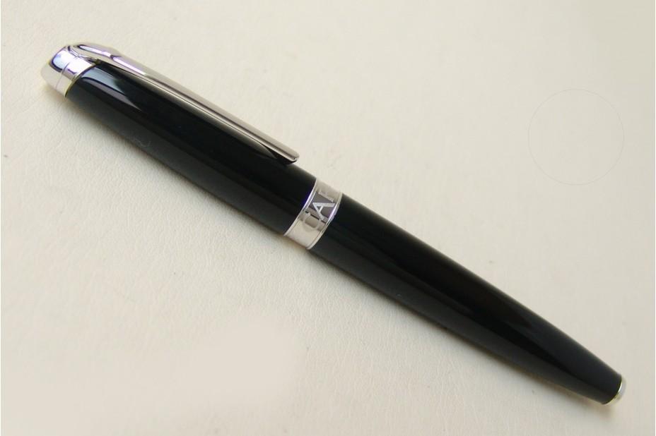 Caran D`Ache  Leman Black Silver Trim Fountain Pen