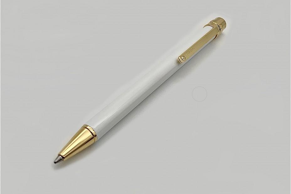 Cartier OP000113 Santos De Cartier White Lacquer Golden Finish Ball Pen