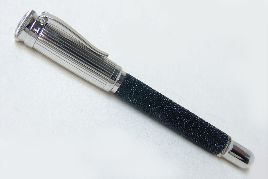 Alfred Dunhill LE Sentryman Black Diamond C Fabric Brass Crystal Palladium Plated Fountain Pen