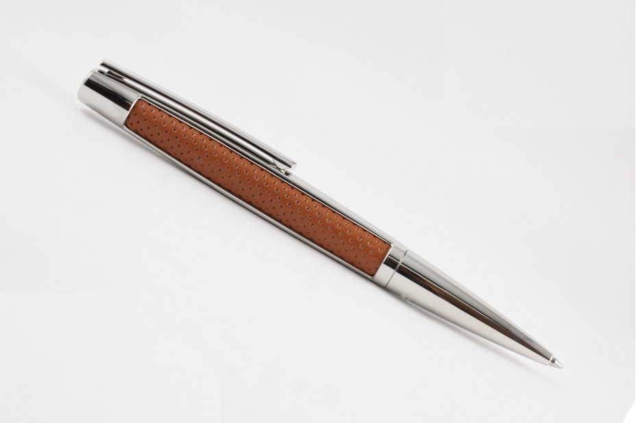 S T Dupont Defi Brown Leather and Palladium Ball Pen