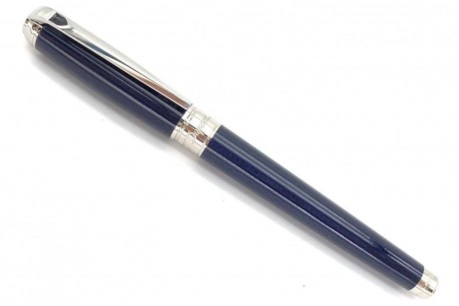 ST Dupont Line D Medium Guilloche Under Blue Lacquer Roller Ball Pen