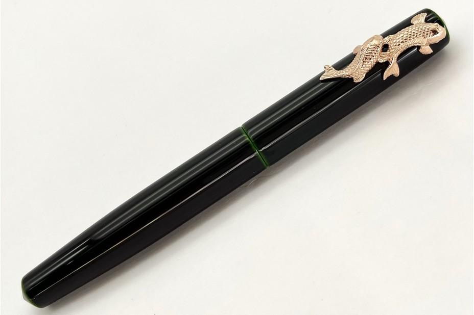 Nakaya Piccolo Long Writer Midori-Tamenuri Fountain Pen with Pink Gold Carp (Koi) Stopper