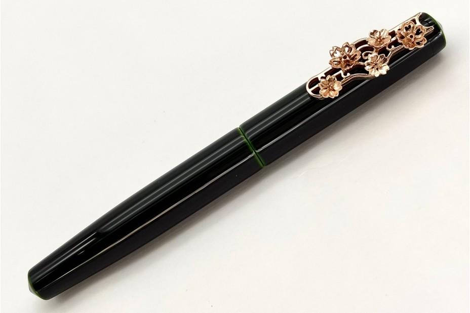 Nakaya Piccolo Long Writer Midori-Tamenuri Fountain Pen with Pink Gold Wisteria Stopper