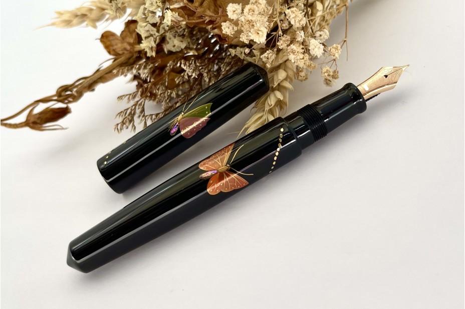 Nakaya Piccolo Long Cigar Maki-e Butterfly Kuro-Tamenuri Fountain Pen