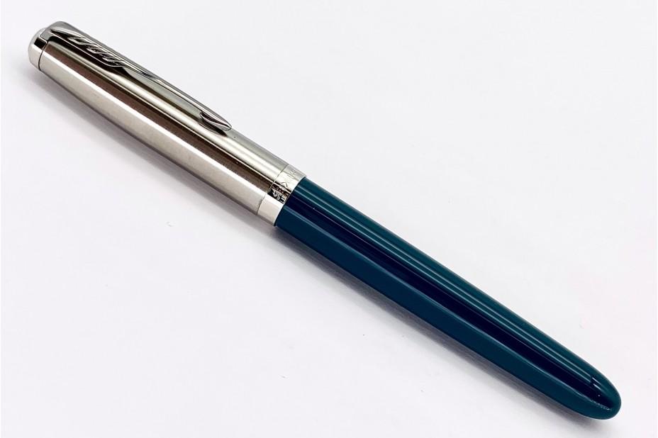 Parker 51 Teal Chrome Trim Fountain Pen (Steel Nib)